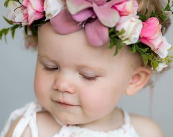 Beautiful Vintage pink Flower Crown