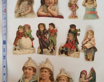 Vintage Victorian Children Ephemera Die Cut Lot