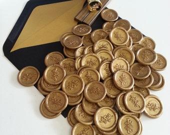 Personalised premade Self adhesive designer wax seal stickers Gold (Handmade in Australia) Pure Invites