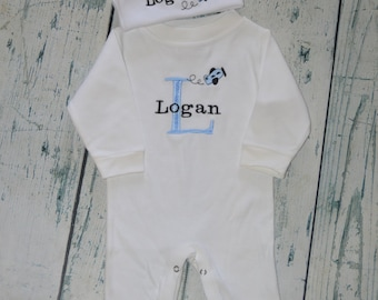 Personalized Infant Sleeper Romper and Cap set Monogrammed Coming Home Outfit  Airplane