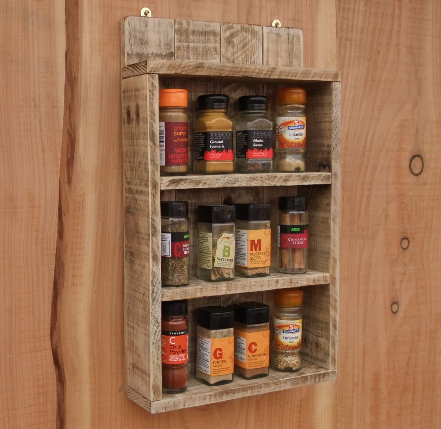 rustic spice shelf / kitchen spice rack / cabinet made from