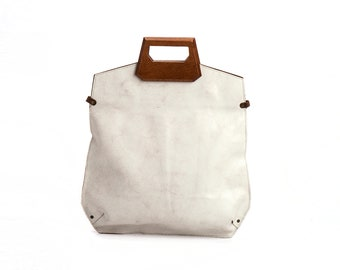 Women's Bag, Leather Handbag, Designer Bag, White Leather Bag, Crossbody Bag,  Handle Bag, Large Clutch, Day Bag, Minimalist Bag, Satchel
