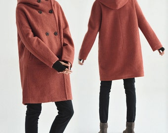 107---Hooded Women's Double Breasted Boiled Wool Cocoon Coat, Oversized Orange Overcoat, Winter Cozy Style Wool Coat,S M L XL XXL XXXL.