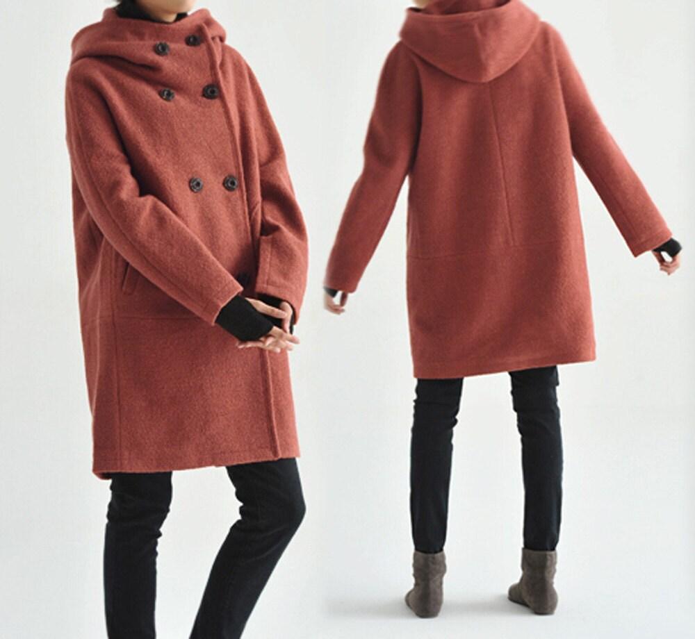 Preferred 107Hooded Women's Double Breasted Boiled Wool Cocoon KE94