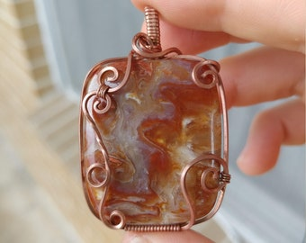 Crazy Lace Agate Pendant Wrapped in Copper Wire