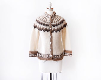 Icelandic cardigan, vintage 70s fair isle wool sweater, brown + cream Scandinavian cardigan, chunky Nordic knit, extra small xs