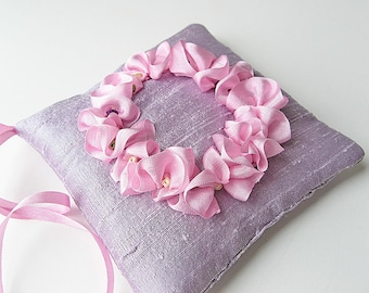 Lavender sachet, purple silk scented pillow, scented drawer sachet, sachet with pink silk ruffle