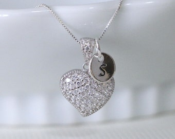 Personalized Heart Necklace, Sterling Silver and Swarovski Crystal Heart Necklace, Sterling Silver Heart Necklace, Initial Necklace