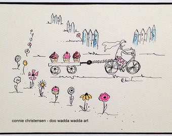 Small ORIGINAL whimsical painting cyclist on bike, 5x7 painting, flowers, wagon, cupcakes, watercolor, bike art, baking, retro, baker