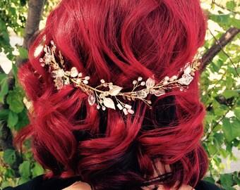 Rose Gold Hair Vine, White Gold Leaf Hair Vine, Rose Gold Wedding Hair Accessory, Rose Gold Bridal Wreath, Rhinestone Hair Vine, Hair Crown