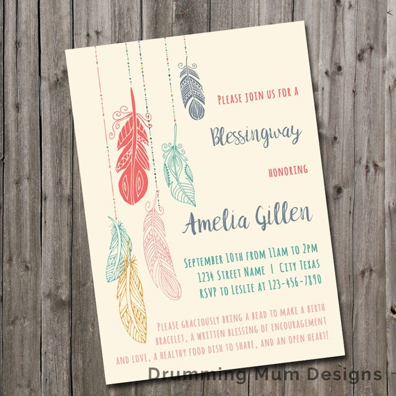 Blessingway Invitation Boho Feathers Mother Blessing Invite