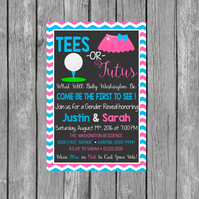 TEES OR TUTUS Gender Reveal Party Invitation Gender Reveal