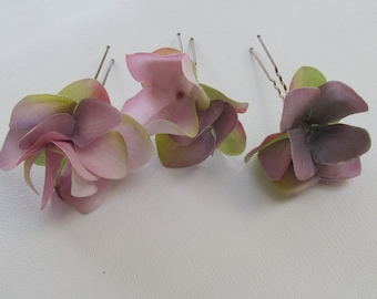 Hydrangea hair pins, wedding hair pins, set of 3, pink hair pins, hydrangea hair clips, flower hair pins, flower hair grips, 3 x hair pins