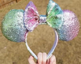 Rainbow sequin Minnie mouse ears