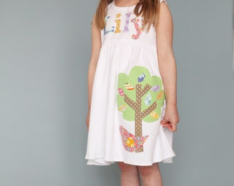 Summer Dress - Personalized Dress with Tree Applique - You Choose Dress Color and Sleeve Length