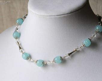 Blue and Silver Choker, Vintage Beads, Silver Tone, NOS Miriam Haskell Beads, NOS Coro Silver Tube Beads, Light Teal, Necklace, Choker