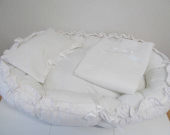 White Baby Doll Bed  - Comes with Doll Bed, Blanket and Pillow