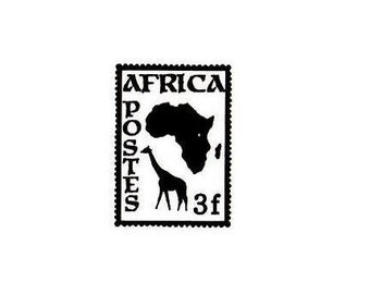 Africa Postage Stamp unmounted rubber stamp, travel journal stamp, safari, giraffe, Sweet Grass Stamps No.17