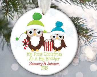 Big Brother Ornament, Big Sister Ornament, Family Ornament, Personalized Christmas Ornament, My First Christmas Ornament, Little Baby OR605