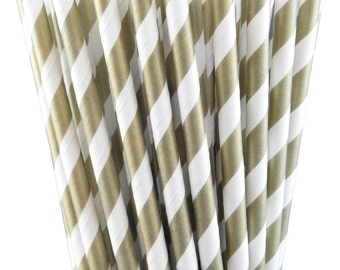 25 Gold Striped Paper Straws-7.75 Inches-Metallic Gold and White-Party Straws-Shower-Wedding-Party-Biodegradable