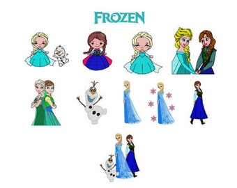 Frozen Machine Embroidery File Design 4x4 and 5x7 inch hoop