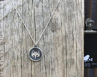 Fox Silver Wax Seal Stamp Necklace