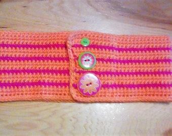 Orange and Glitter Pink Crochet Headband, Ear Warmer, Winter Wear, Women & Teens! Only One Available!