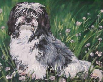 "HAVANESE dog portrait art canvas PRINT of LAShepard painting 11x14"""