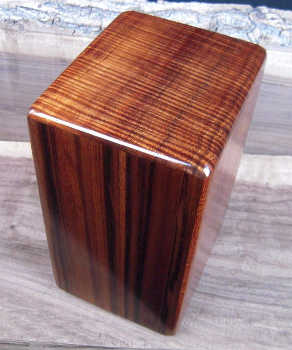 "Curly Hawaiian Koa Medium Size Memorial Cremation Urn...5 3/4"" x 5"" x 9"" ..Constant Supply On Hand Wooden Cremation Urn MK042617-2"