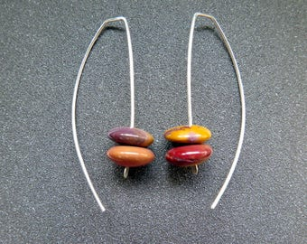 natural stone earrings. mookaite jewelry. modern jewellery. sterling silver earwires