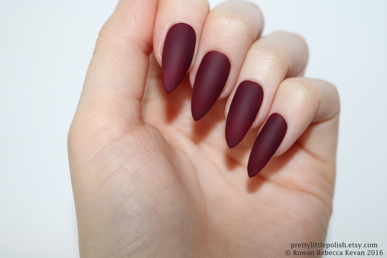 Matte burgundy stiletto nails Halloween nails Fake nail