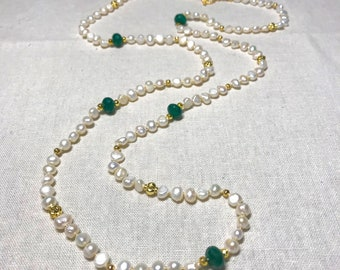 Emerald and Freshwater Pearl Necklace