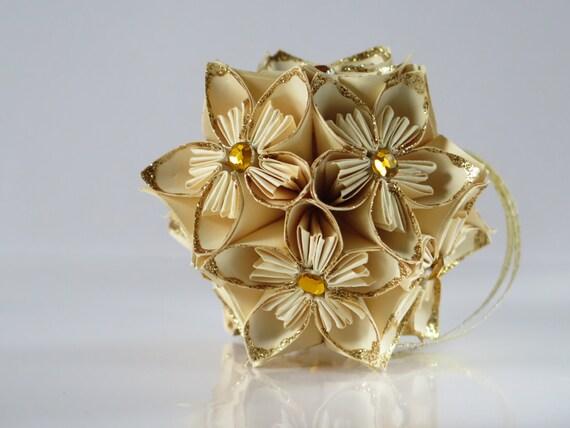 Gold Glitter Ornament Origami Kusudama Flower Ball Unique