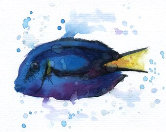 "Blue tang - ORIGINAL Watercolor - 4.5x5.5"" - Fish, UNFRAMED, Painting by Bruno M Carlos"
