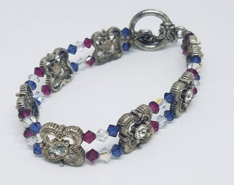 2 hole slider beaded bracelet crystal rhinestone beads toggle clasp