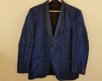 50s/60s Men's Royal Blue Brocade Dinner Jacket - 44