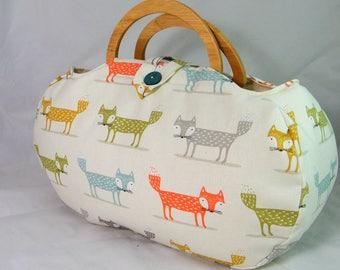 Large project bag. Fox fabric knitting bag.