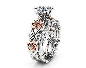 Flower Moissanite Promise Rings Princess Cut Bridal Ring Set Charles and Colvard Two Tone 14K Gold Bands