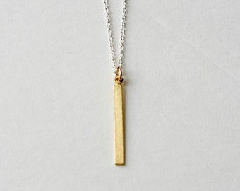 Delicate Gold Bar Necklace, Gold Vermeil Bar, Minimal Jewelry Jewellery,  Mixed Metal Jewelry, Layering Necklace, Minimal Necklace