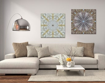 Set of 2 Mandala Canvas Prints ~ Large Crystal Clusters ~ White & Brown Wall Decor for Modern Home Styling ~ Australia ~ Nature Photography
