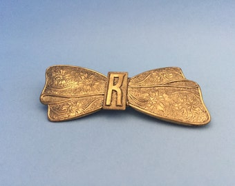 Vintage monogram R brooch with bow