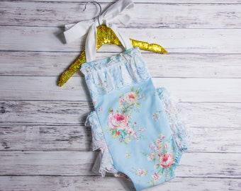 Blue Floral and Lace Romper- Baby Girl Romper, vintage style lace romper, blue lace romper, girlie lace romper, floral lace romper