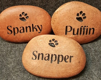 """PET MEMORIAL Stone 2""""-3"""" Engraved STONE Memorial Dog or Cat Personalized Engraved with Name & One Paw"""