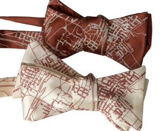 Austin Bow Tie. Austin Texas Map Bow Tie, Texan City of Austin Bow Tie for groom, Austin Texas wedding bow tie for groomsman self tie bowtie