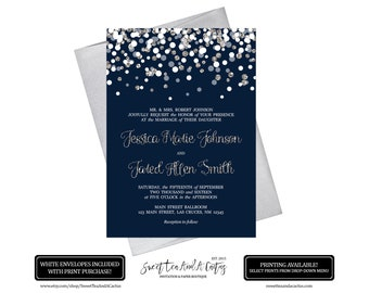 Navy Blue and Silver Confetti Wedding Invitation Printable Digital File or Prints with Free Shipping Elegant Silver Glitter Announcements