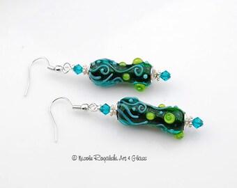 Enchanted Beaded Earrings - Artisan Lampwork Glass, Lime, Aqua, Teal, Silver