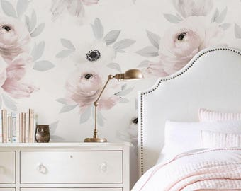 Flower Mural Wallpaper, Romantic Flowers, Flower Extra Large Wall Art, Peel and Stick Wall Poster