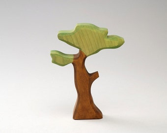 Toy Baobab - Wooden Tree - Eco Friendly - Natural - Waldof Tree Toy - Wood Green Tree - Summer Landscape - Wooden Waldorf Toy - Forest Wood