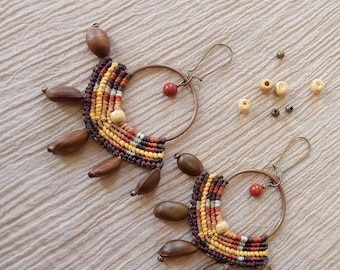Native tribal yellow brown micro macrame hoop earrings with natural hand drilled beads