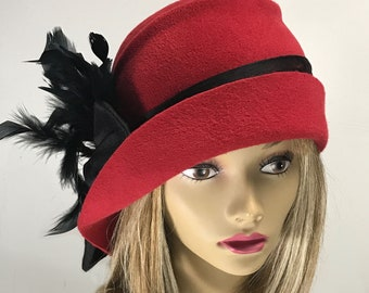 Brinda, Velour Fur Felt Hat, Downton Abbey style millinery hat,  red cloche hat with feathers and silk dupioni